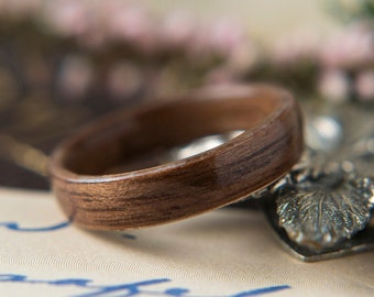 Womens Wedding band made from Walnut, Promise ring, Wooden ring