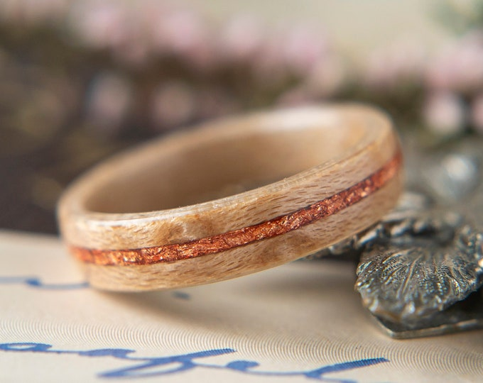 Womens Wedding band made from Birds eye Maple with Rose Gold Flake, Promise ring, Wooden ring