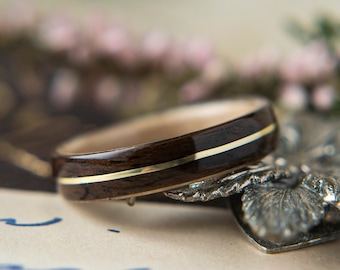 Womens Wedding band made from Birds eye Maple with Ebony and Brass Inlay, Promise ring, Wooden ring