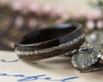 Womens Wedding band made from Ebony with German Glass Inlay, Promise ring, Wooden ring