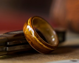 Mens Wedding band made from Birds eye maple, Santos Rosewood and  Offset Gold flake inlay, Mens engagement ring, Mens promise ring