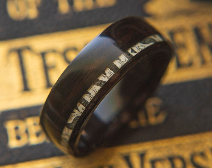 """Mens Wedding band """"The Mayweather"""" made from Ebony with Cash inlay, Mens engagement ring, Mens promise ring"""