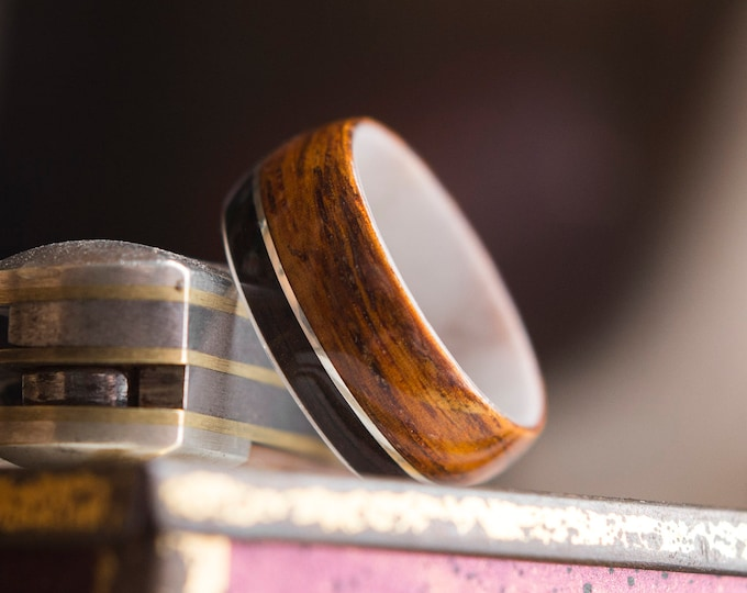 Antler, Duel wood with Sterling silver wire wooden ring, Wooden wedding band, Unisex wooden ring, wedding rings, /  Made in Canada