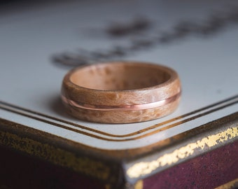 Mens Wedding band made from Birds eye maple and Copper, Mens engagement ring, Mens promise ring