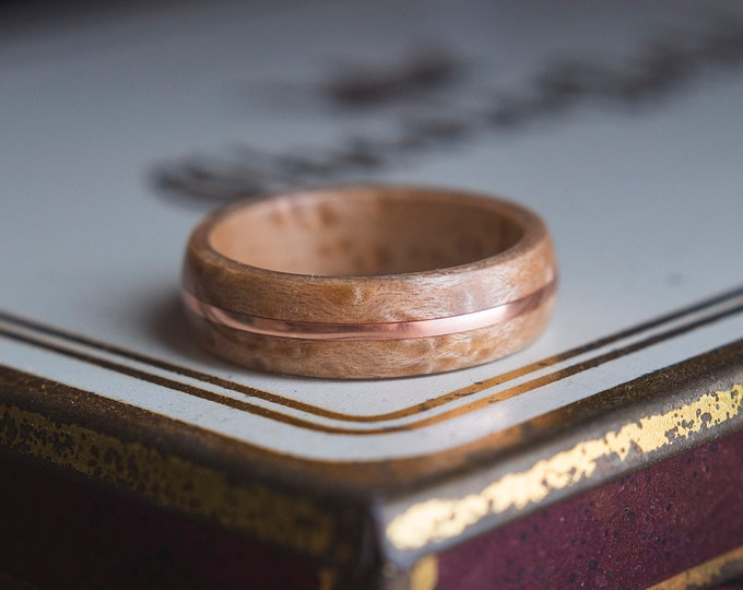 Mens Wedding band made from Birds eye Maple with Copper wire inlay, Mens engagement ring, Mens promise ring