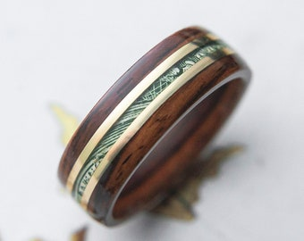 "Mens Wedding band ""The C.R.E.A.M"" made from Santos Rosewood, Brass and Cash, Mens engagement ring, Mens promise ring"
