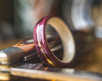 Mens Wedding band made from Light Maple, Purple heart and Copper, Mens engagement ring, Mens promise ring