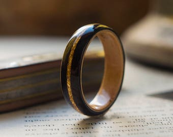 Mens Wedding band made from Birds eye maple, Ebony with Gold flake inlay, Mens engagement ring, Mens promise ring