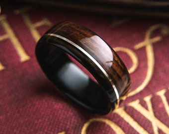 Mens Wedding band made from Ebony, Rosewood and offset Silver Inlay, Mens engagement ring, Mens promise ring.