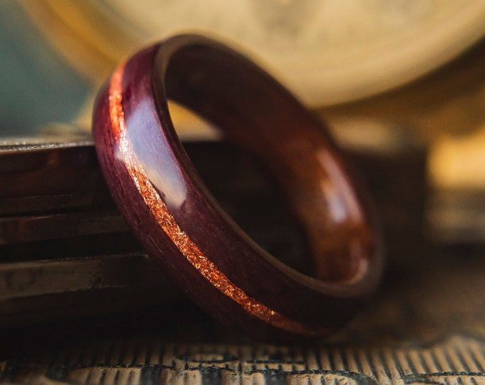 Mens Wedding band made from Mahogany, Purple heart and Rose gold flake Inlay, Mens engagement ring, Mens promise ring