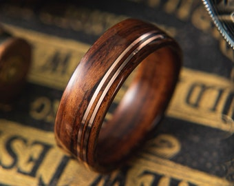 Mens wood Wedding band made from Santos Rosewood with Double Offset copper wire inlay, Mens engagement ring, Mens promise ring