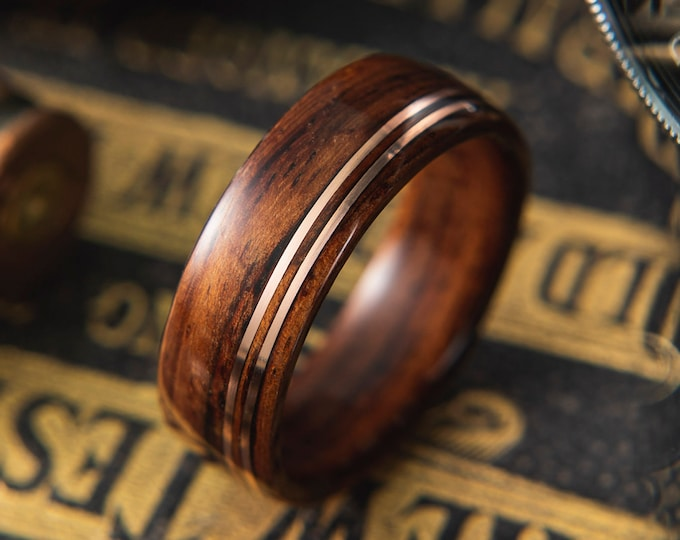 Mens Wedding band made from Santos Rosewood with Double Offset copper wire inlay, Mens engagement ring, Mens promise ring