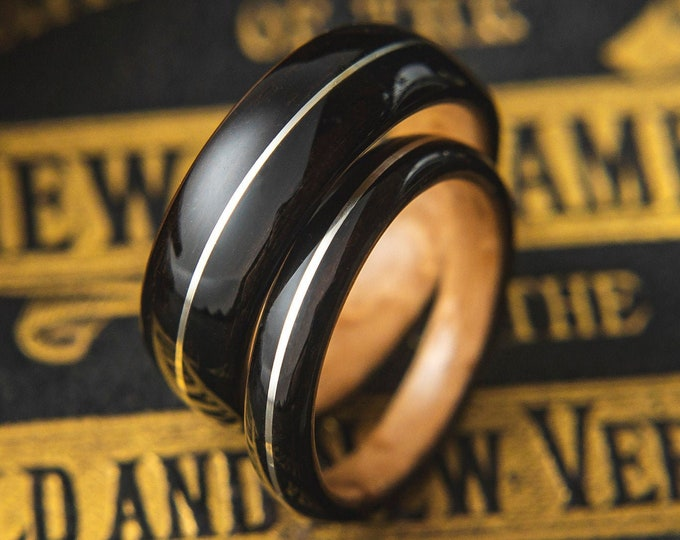 Wedding band Set made from Birds eye maple, Ebony and Silver wire inlay, Mens engagement ring, Mens promise ring