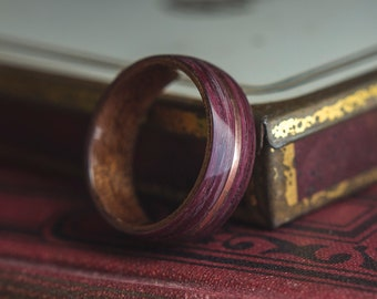 Mens Wedding band made from Mahogany, Purple heart and Copper, Mens engagement ring, Mens promise ring