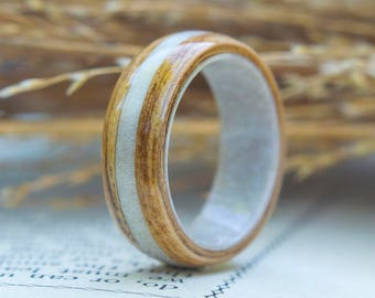 Oak with Antler Inside and Inlay Wedding band, wood Ring, Wooden wedding band, Unisex wooden ring, wedding rings, //  Made in Canada