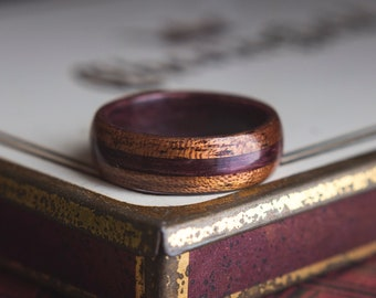 Mens Wedding Band made from Purple Heart and Mahogany, Wood wedding band, unisex wedding bands