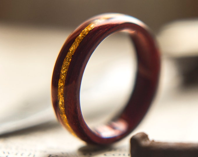 Wood Wedding Band made from Purple heart and Gold flake