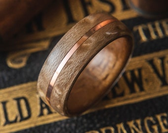 Mens Wedding band made from Koa, Birds eye maple with Copper inlay, Mens engagement ring, Mens promise ring