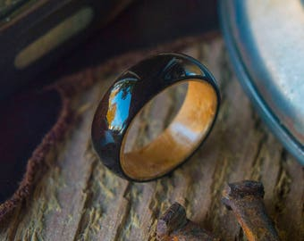 Mens Wedding band made from Birds eye maple and Ebony, Mens promise ring, Mens engagement ring