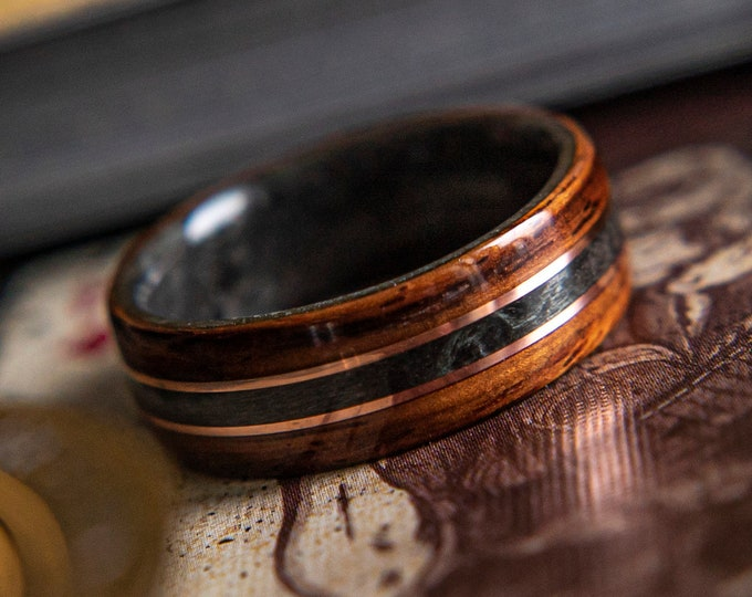 The King,  Mens Wedding Band featuring Grey Maple, Rosewood and Dual Copper inlay,  Mens Wedding Band, Wood wedding band, Wood Wedding Band