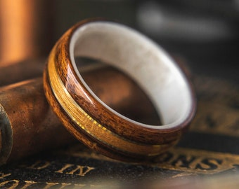 Wedding band with Antler, Rosewood, Cherry with Brass wire Mens Wedding ring, Wooden wedding band, wooden ring, wedding rings