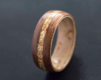 Wood Wedding Band made from Birds eye Koa and 24k Gold flake, Wooden wedding ring , Wooden wedding band, Unisex wooden ring, wedding rings
