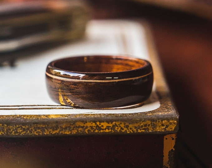 Mens Wedding band made from Mahogany, Ebony and Guitar string inlay, Mens engagement ring, Mens promise ring
