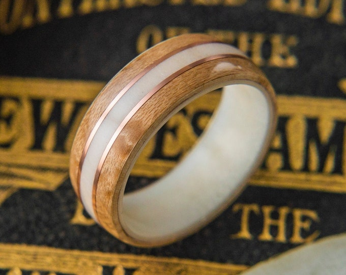 Antler Wedding Band with Birds eye Maple and Copper Inlay,  Mens Wedding Band, Wood wedding band, For him