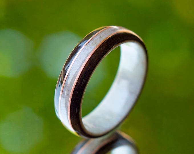 Antler Wedding Band with Ebony and Copper Inlay,  Mens Wedding Band, Wood wedding band, For him