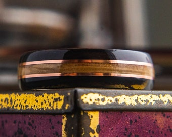 Wedding band with Antler, Ebony, Whisky Barrel and Copper wire Mens Wedding ring, Wooden wedding band, wooden ring, wedding rings