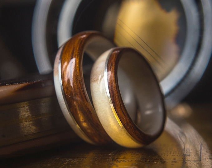 Men and Womens Wedding band set made from Antler, Santos Rosewood and Silver. Wooden wedding band, Unisex wooden ring, wedding rings.