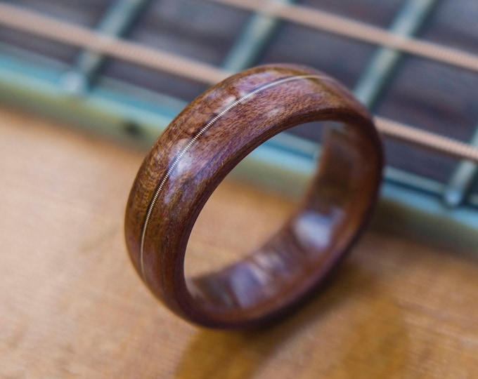 Mens Wedding band made from Mahogany and Guitar string, Mens engagement ring, Mens promise ring