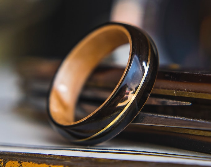 Mens Wedding band made from Birds eye maple, Ebony and Brass pinstripe inlay, Mens engagement ring, Mens promise ring