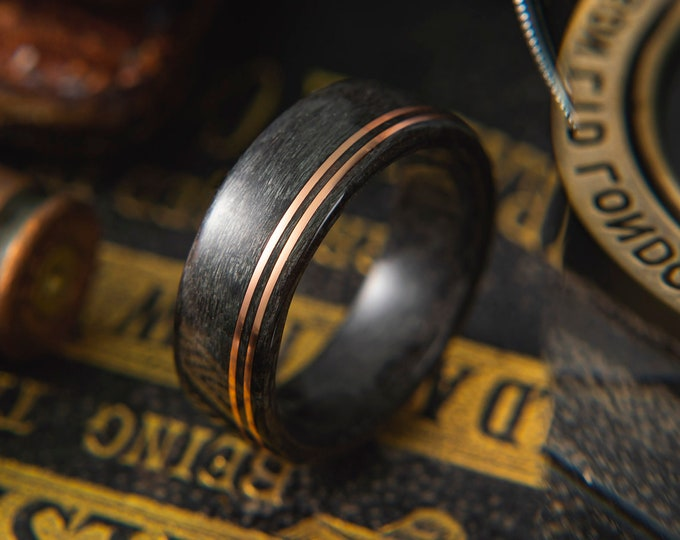 Mens Wedding band made from Grey Maple with Double Offset copper wire inlay, Mens engagement ring, Mens promise ring