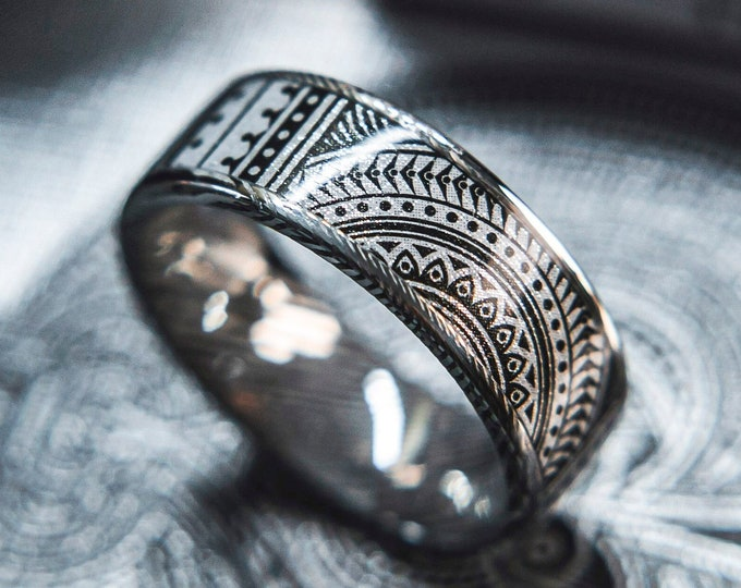 Mens Wedding band in Damascus Steel and Platium Invocation Feat. KingsWildProject luxury playing cards.