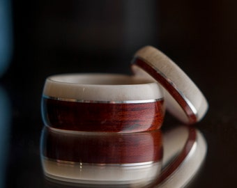 Men and Womens Wedding band set made from Antler, Bloodwood and Silver. Wooden wedding band, Unisex wooden ring, wedding rings.
