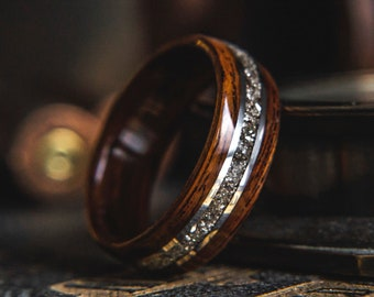 """Mens Wedding band """"The RSG"""" made from Santos Rosewood, Silver and German Glass, Mens engagement ring, Mens promise ring"""