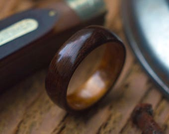 Mens Wedding Band made from Koa and Ebony, Mens engagement ring, Mens promise ring