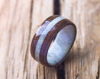 Walnut with Antler Inside and Inlay Wedding band, wood Ring, Wooden wedding band, Unisex wooden ring, wedding rings, //  Made in Canada