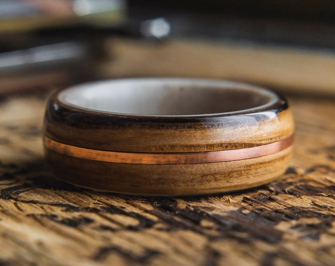 Mens Wedding band made from Antler, Whisky Barrel and Copper inlay, wooden ring, Wood wedding band, Mens wedding ring, wedding rings