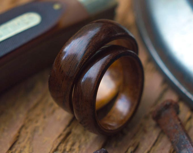 Pair of Koa and Ebony Wooden rings, Wooden wedding band, couples wedding rings, matching wedding rings, wedding rings