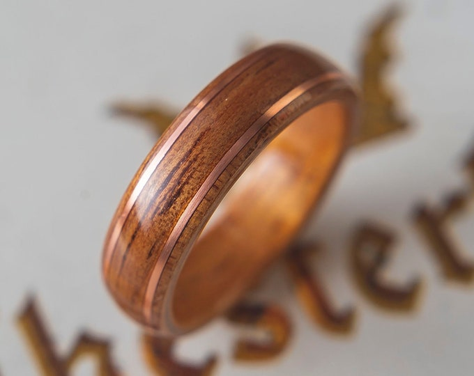 Mens Wedding band made from Koa with 2 thin copper wire inlay, Mens engagement ring, Mens promise ring
