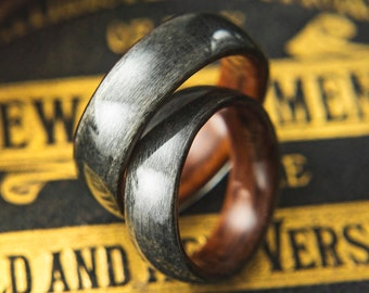 Pair of Rosewood and Grey birds eye Maple Wooden Wedding rings, Wooden wedding band, couples wedding rings, matching wedding rings