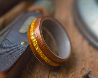 Antler, Koa wood and Gold flake Ring, Wooden wedding band, Unisex wooden ring, wedding rings, //  Made in Canada
