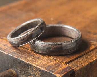 Pair of Grey Birds eye Maple Wooden ring, Wooden wedding band, Unisex wooden ring, wedding rings //  Made in Canada