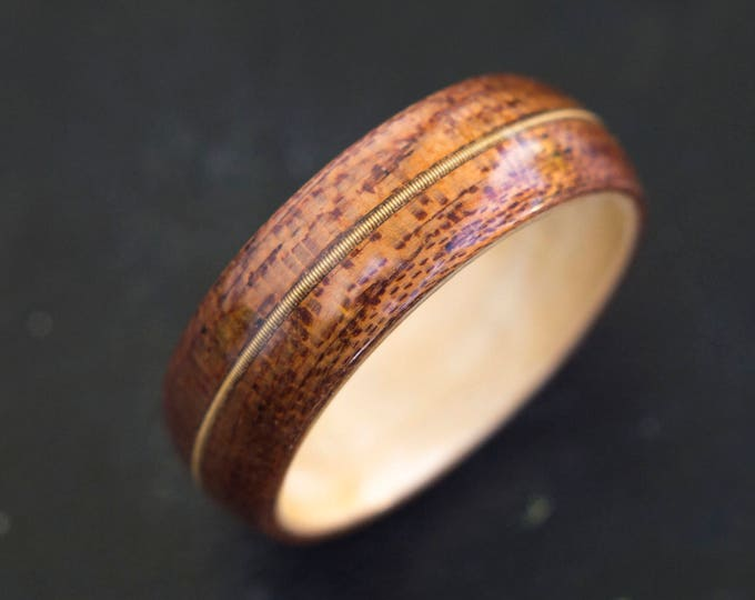 Mens Wedding band made from Birds eye maple, Mahogany and Guitar string, Mens engagement ring, Mens promise ring