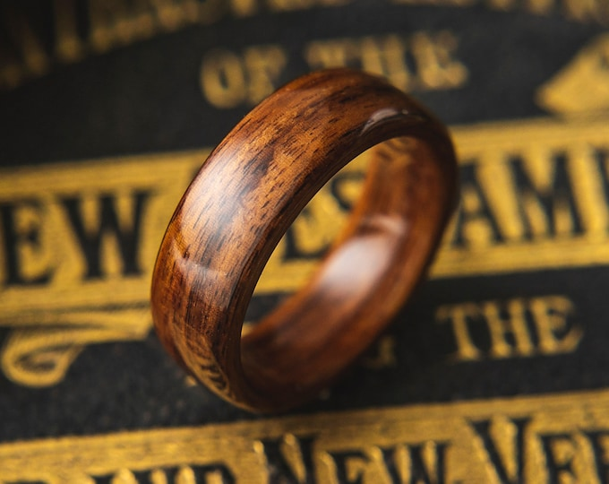 Mens Wedding band made from Santos Rosewood, Mens promise ring, Wooden ring