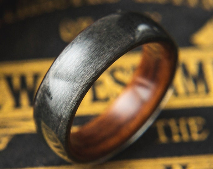 Mens Wood Wedding band made from Santos rosewood and Grey birds eye maple, Mens promise ring, Mens engagement ring