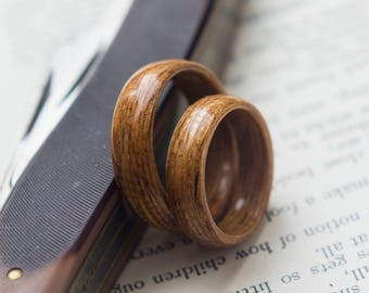 Pair of Wood Wedding bands made from Oak,  Wood wedding rings, promise ring