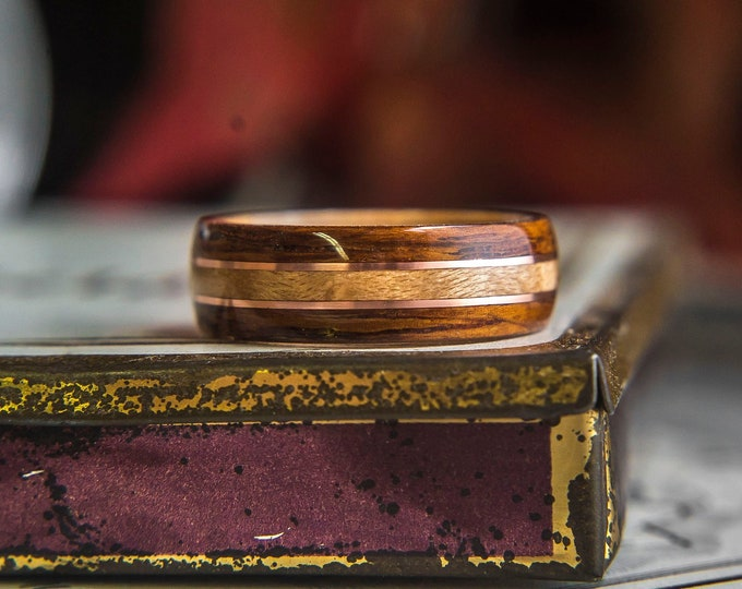 Mens Wedding band with Birdseye, Rosewood and Copper inlay,  Mens Wedding Band, Wood wedding band, For him